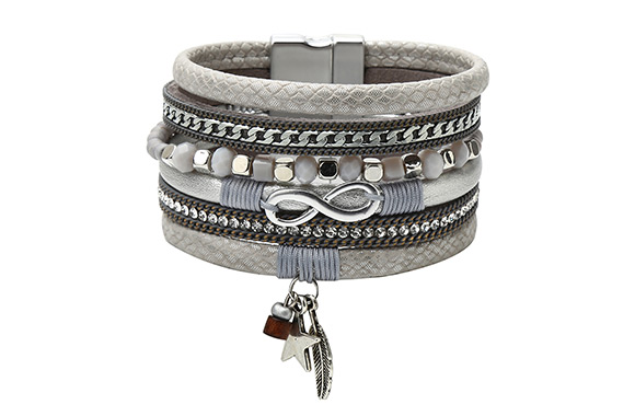 OPTION #3: Grey charm (WGBF00592-0411): $15.99 for a PU leather bracelet  embellished with crystals & Infinity sign, and a dangling feather & star  charm ...