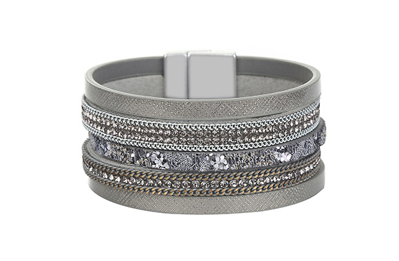 OPTION #2: Grey multi (WGBF00597-0250): $15.99 for a PU leather bracelet  embellished with crystals and delicate chain details (value of $68.99 - 77%  off) ...